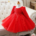 High Quality Brand Girl Red/White Lace Princess Dress with Sequin Bow Girl Wedding Dress Infants Long-sleeve Bridesmaid Clothes