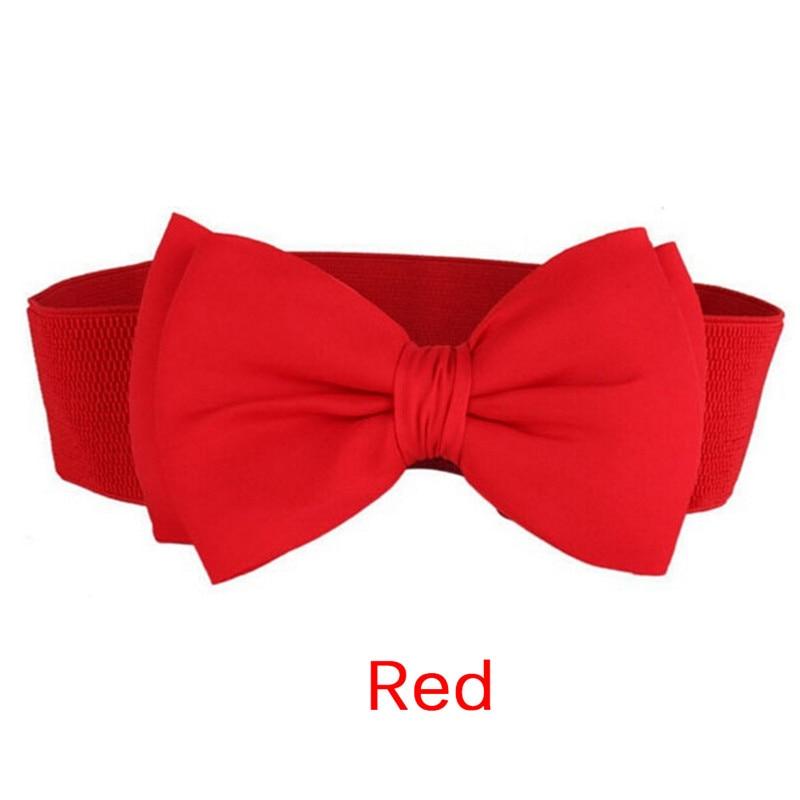1 PC Fashion Sweet Women Bowknot Cummerbund Elastic Bow Wide Stretch Buckle Waistband Waist Belt
