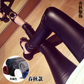 Women Mid Pencil Pants Skinny Fashionable Sexy & Club Casual Elastic Waist Leather Pants Black Brown Red Dark Blue