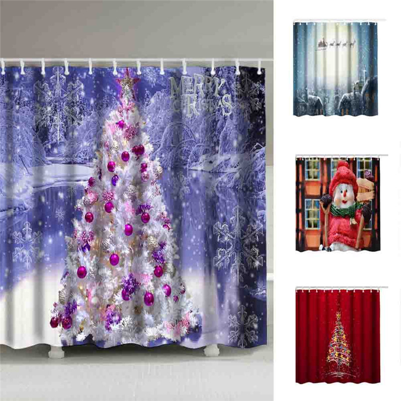 2018 Christmas Waterproof Polyester Bathroom Shower Curtain Decor With Hooks Free Shipping #CNO12