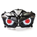 KT Фара для Yamaha YZF R3 2015 2016 2017 LED Ангел Глаз Красный Демон Глаз Мотоцикл HID Проектор Сборки