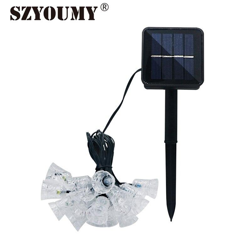 szyoumy 4 8 m solar luzes da corda ao ar livre solar jingle sinos de fadas