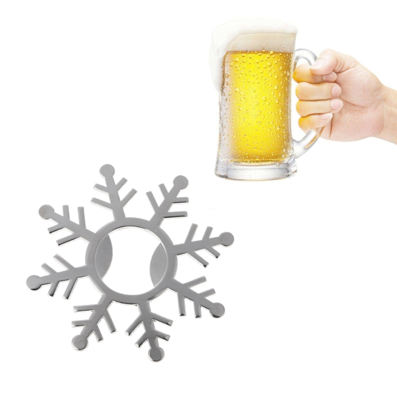 Zinc Alloy Bottle Opener Snowflake Shape Metal Pendant Table Wedding Party Use