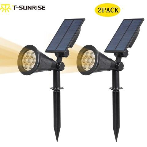 2 pacote holofotes movido a energia solar ao ar livre iluminacao 2 em 1 ajustavel