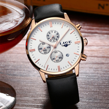 LIGE Mens Watches Top Brand Luxury Male Lather Watch