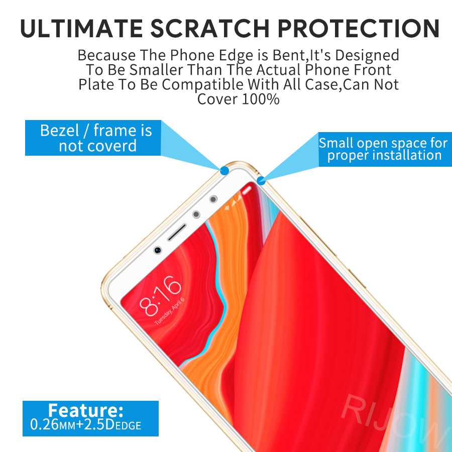 2Pcs Glass For Xiaomi Redmi S2 Tempered Glass Redmi Y2 Screen Protector Edge Xiomi Redmi S2 Y2 Protective Film Glass in Phone Screen Protectors from Cellphones Telecommunications