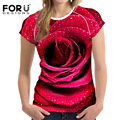 FORUDESIGNS Hot Sell Summer T Shirt Women Short Sleeved T-shirt 3D Flower Rose Women's Tops Ctop Top Shirt Camisas Femininas