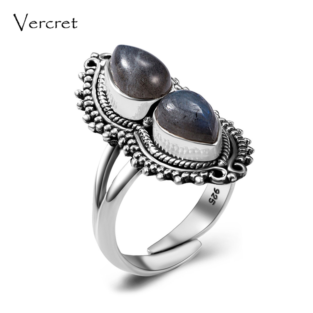 цена на Vercret natural moonstone silver 925 ring for women bohemia adjustable turquoise labradorite stone ring gift presale