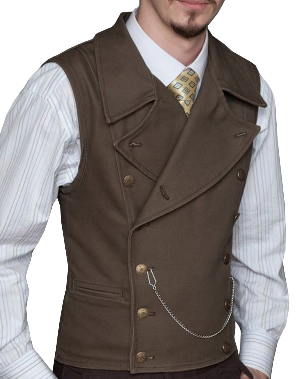 Mens Suit Vest Lapel Neck Wool Brown Waistcoat Casual Formal Double-breasted Business Slim Fit Vest Groomman For Wedding