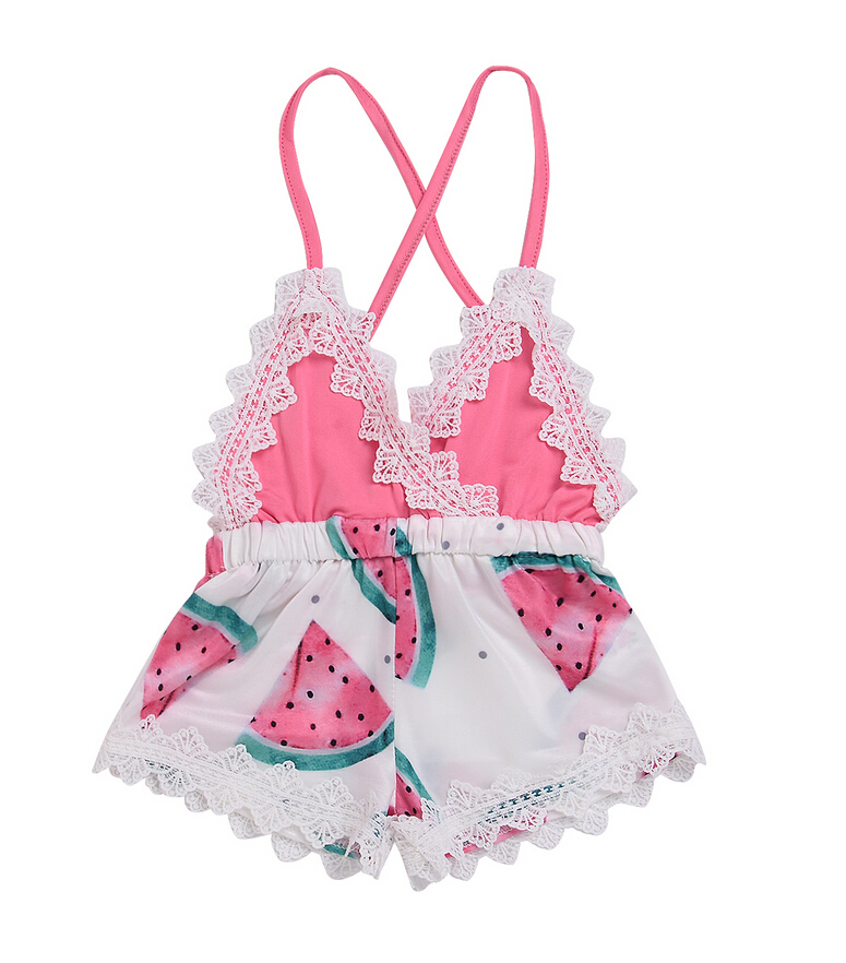 Newborn Toddler Baby Girl Stappy Lace Backless Watermelon Printed Jumpsuit Rompers Romper Outfit Summer baby Girls Rompers newest newborn photography props baby romper studio photography accessories lace romper back tie girls outfit baby girl lace