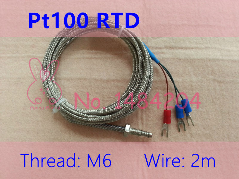 compare prices on 2 wire rtd online shopping buy low price 2 wire 2x pt100 temperature sensor rtd probe m6 screw th 2m 3 core metal shielded