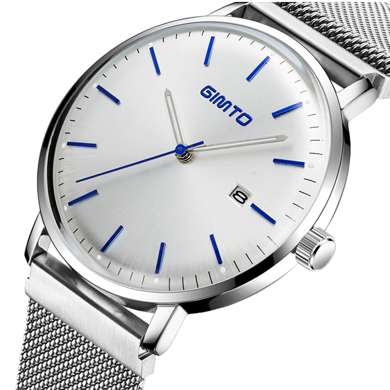 GIMTO Top Brand Men Watch Luxury Ultra Thin Business Wristwatch Steel Band Waterproof Clock Calendar Male Quartz Watches Relogio waterproof watch for women nuodun top brand hot sale ladies business watch with calendar week woman wristwatch assista mulher