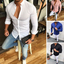 Hot Men's Shirt Solid Linen Cotton Button Long Sleeve Top Slim Fit Casual Male Tee Blouse Tops цена 2017