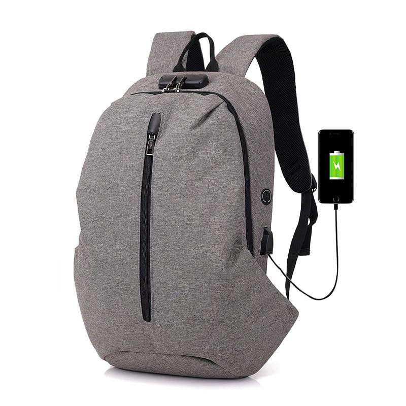 2018 New Waterproof Backpack Men USB Charge Anti Thief Backpack Headphone Interface Port Lock Travel Packpack Student Schoolbags