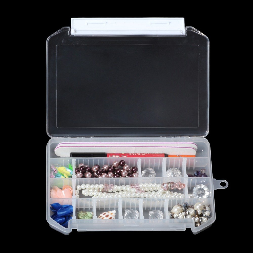 Adjustable 1PC 28 Cells Compartment Plastic Storage Box Case Jewelry Tools Beads Nail Conveniently to c Tiny Stuff Container Bag купить