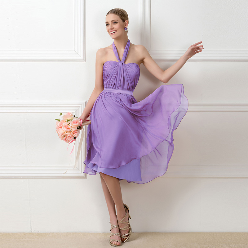 Tanpell a line ruched bridesmaid dress dark lilac sleeveless knee length  gown lady wedding party custom short bridesmaid dresses 81a119999e9d