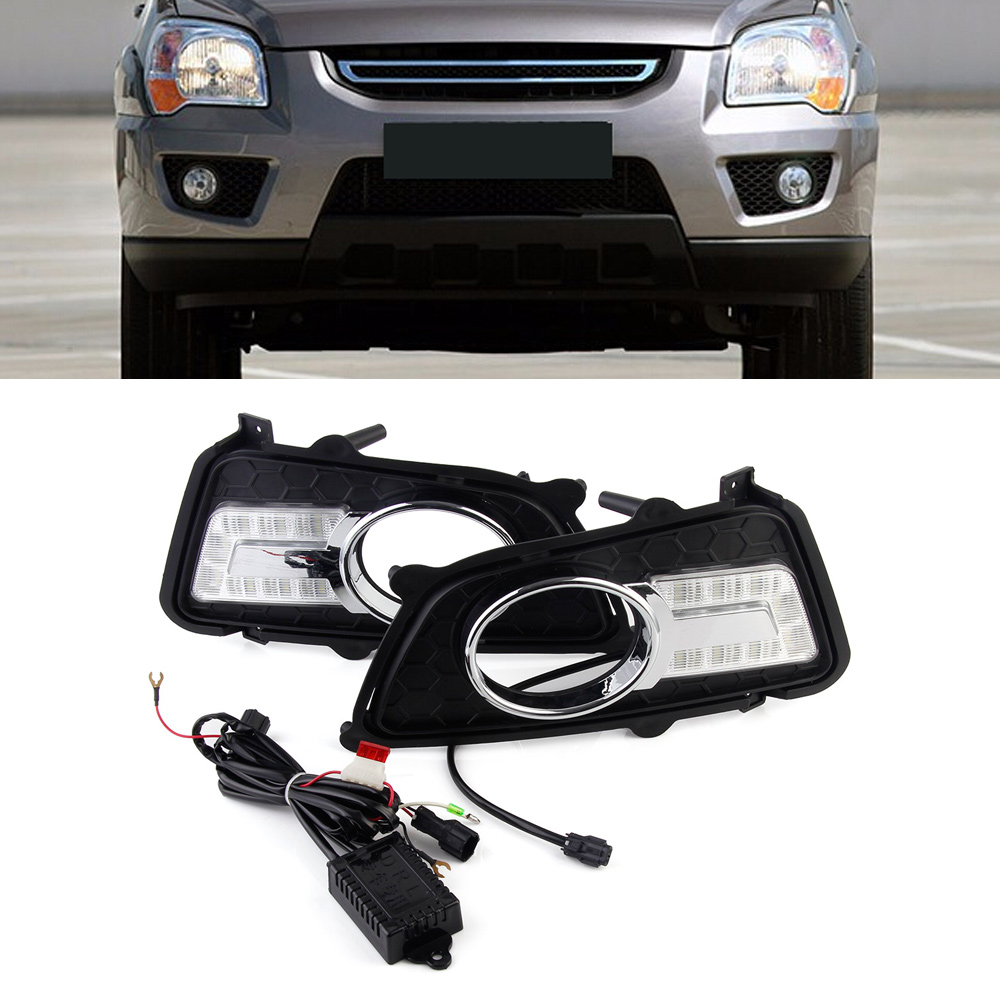 Car Led Light Assembly Daytime Running Lights DRL Driving Fog Lamps U-Type Lamp For KIA Sportage 2011-2015 Free Shipping купить