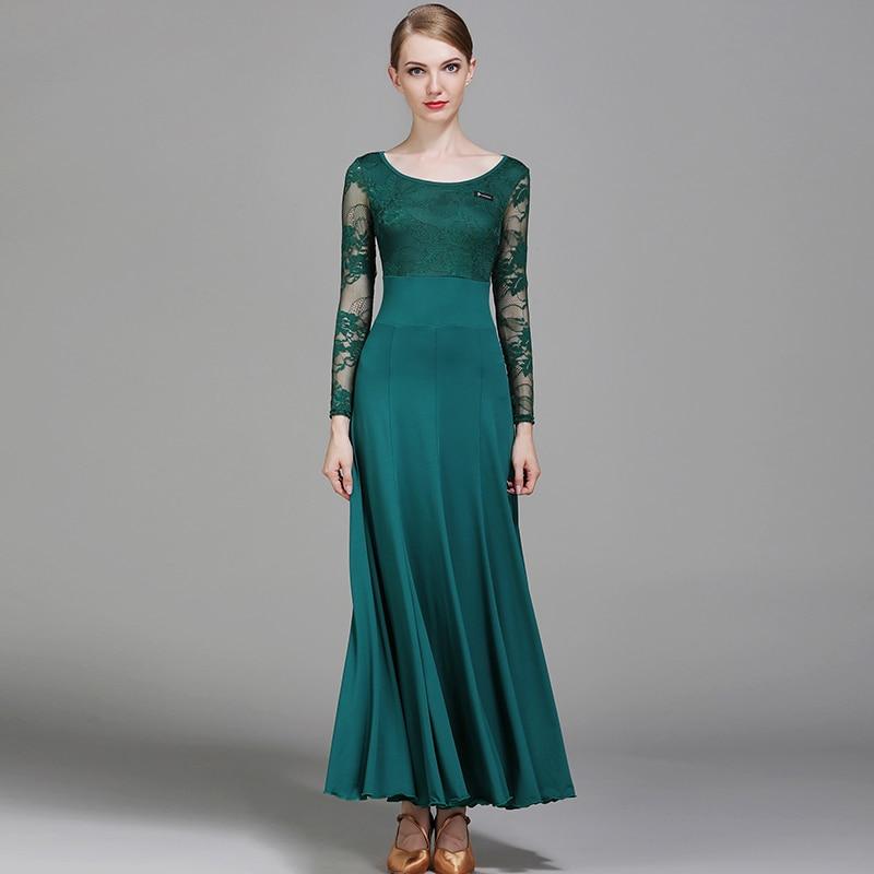 Vestidos de baile de salón estándar para adultos Falda de baile de vals flamenco de manga de encaje de alta calidad Vestido de baile de salón de escenario para mujer