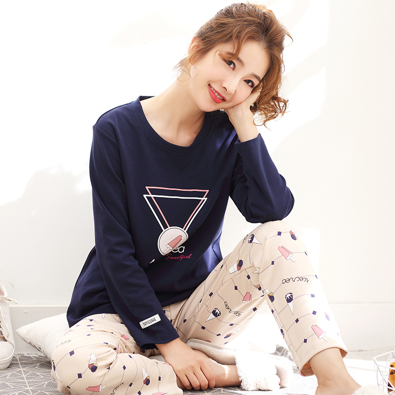 d5ce622fed Big Size M-XXL Women s Long Sleeve Pajamas Set Autumn 100%Cotton Loose  Comfortable Soft Leisure Female Homewear Clothing