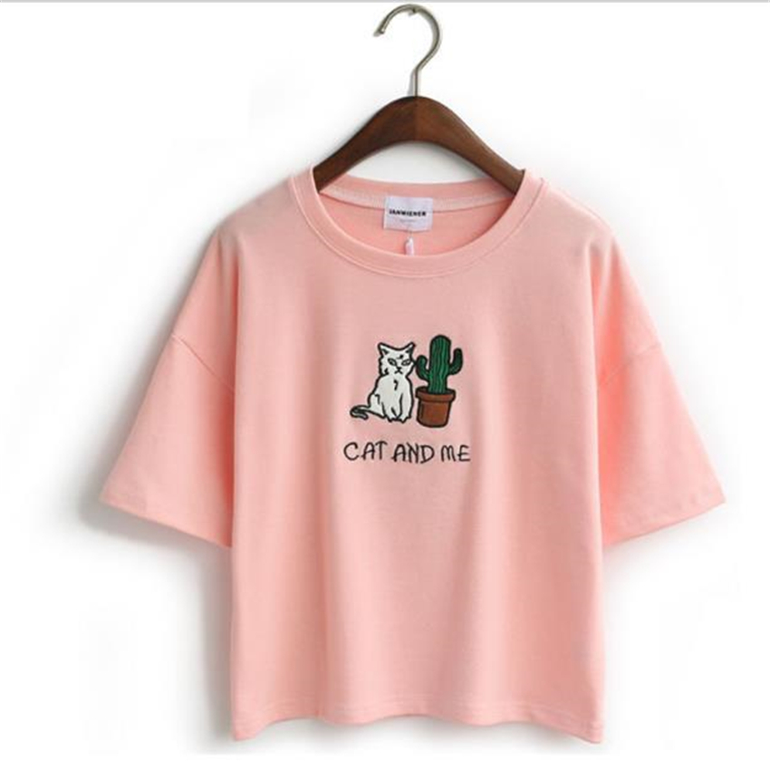 Merry Pretty Harajuku pink t shirt women kawaii catus cat embroidery 95% cotton t-shirt girls sweet o-neck short tshirt crop top