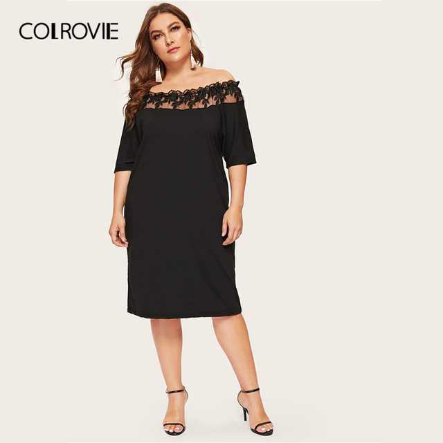 COLROVIE Plus Size Black Off The Shoulder Contrast Mesh Elegant Dress Women 2019 Summer Short Sleeve Knee Length Party Dresses 2