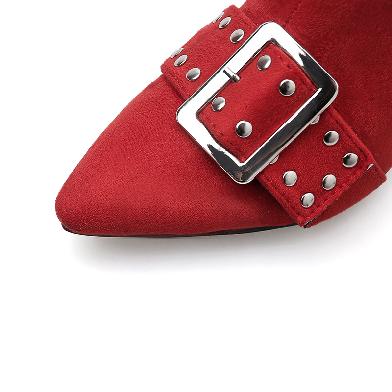 Red Ankle boots Woman Chunky heels Shoes Zip Sexy high heel boots fashion Ladies Booties buckle rivet zapatos de mujer black in Ankle Boots from Shoes