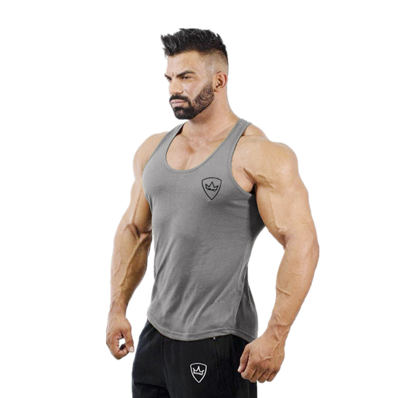 2019 New Brand Mens bodybuilding   Tank     Tops   Men Breathable Vest Men's Cotton Fitness Gyms   TOP   Men Gyms mens   tank     top