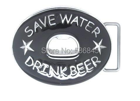 Économiser l'eau boire de la bière ouvre-bouteille drôle boucle de ceinture
