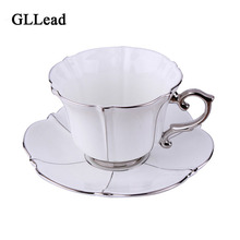 GLLead European Top Grade Silver Bone China Porcelain Coffee Cup Saucer Sets Home Afternoon