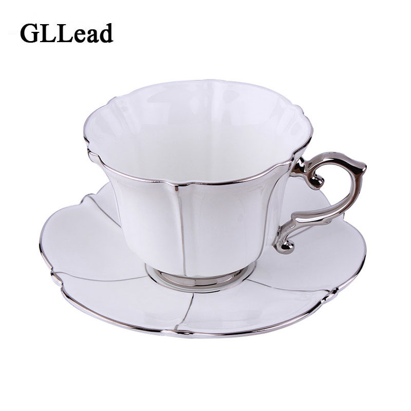 GLLead Եվրոպական լավագույն դասարանի արծաթագույն ոսկոր Չինաստանից ճենապակյա սուրճի գավաթով բաժակապնակը հավաքում է տան կեսօրից հետո թեյի գավաթները ափսեի օժանդակ մեծածախ վաճառք