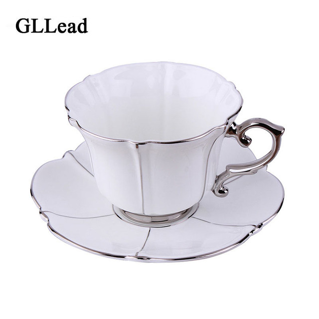 Gllead European Top Grade Silver Bone China Porcelain Coffee Cup Saucer Sets Home Afternoon Tea Cups