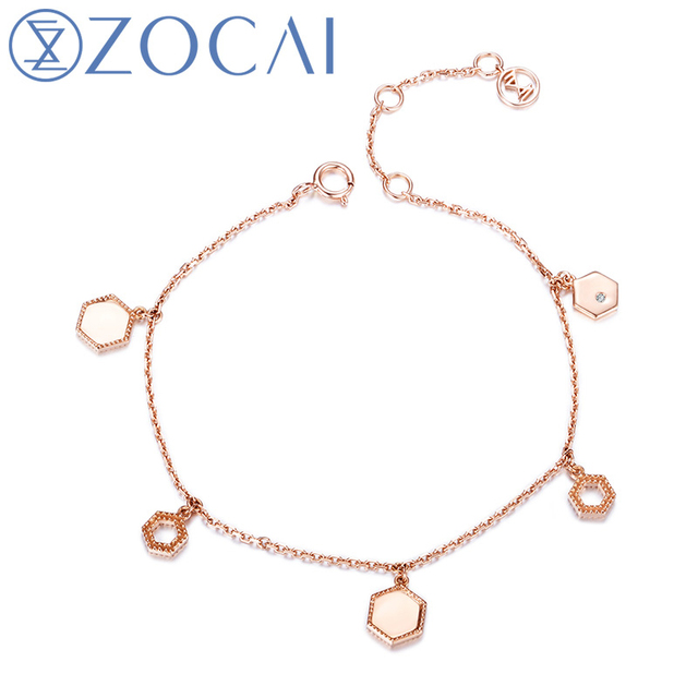 ZOCAI New Arrival The Honeycomb Series Real 0.005 CT Diamond Bracelet 18K Rose Gold JBS00033