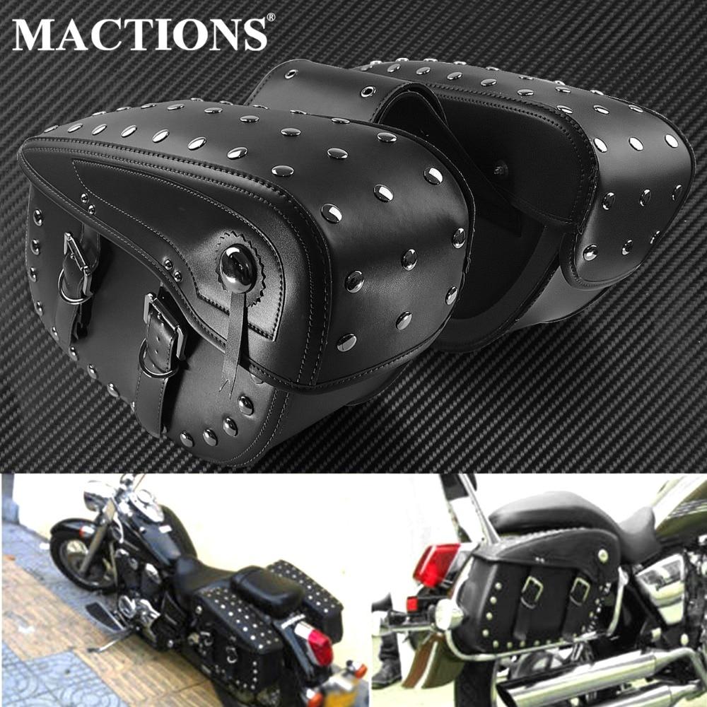 Motorcycle Waterproof PU Leather Saddle Bag Large Size 2Pcs Knight Side Luggage Tool Bags For Harley Prince Cruise Motorbike