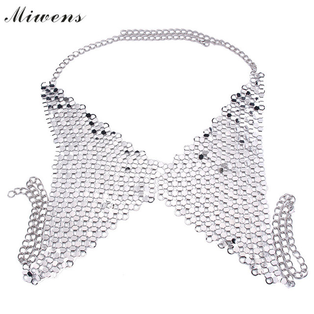 Miwens Fashion Hollow Metal Statement Necklace Vintage Maxi Necklace Trend Bra Style Women Jewelry Accessory Personality 7513
