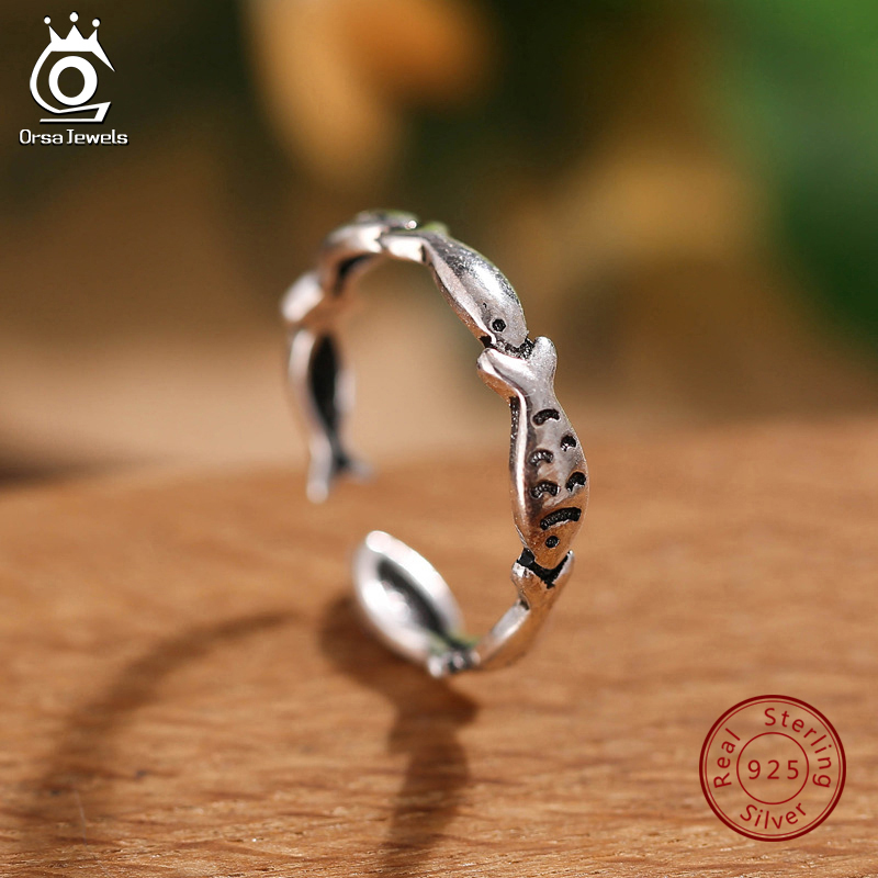 ORSA JEWELS Real 925 Sterling Silver Rings For Women Cute Fish Open Cuff Rings Resizable Female Party Fashion Girl Jewelry PSR53