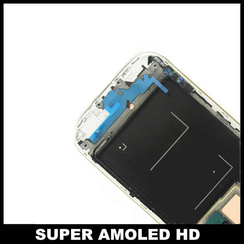 لسامسونج غالاكسي S4 i9500 المحمول LCD 100% سوبر AMOLED شاشات LCD عرض تعمل باللمس التحويل الرقمي الاطار التجمع الزجاج المقسى