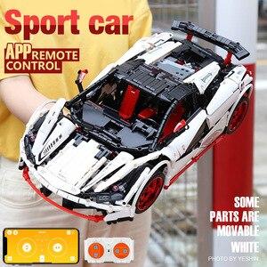 Image 2 - DHL 20087 APP Technic Car Series Compatible MOC 16915 White Icarus Car Set Kids Building Blocks Bricks RC Car