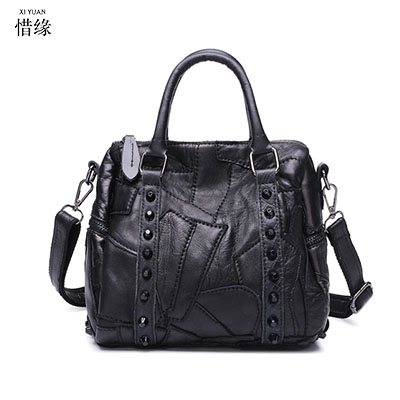 XIYUAN BRAND women Genuine Leather flap Messenger Bag Sheepskin Crossbody Shoulder Designer Rock Rivet Handbag Real Bolsos black 2017 new arrival designer women leather handbags vintage saddle bag real genuine leather bag for women brand tote bag with rivet