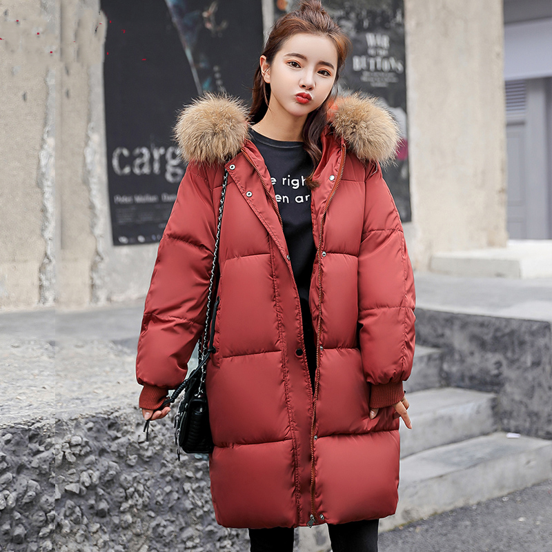 2019 autumn winter Women ladies Fashion fur hoodie long   Down   jacket Cotton thick Parkas Female Long warm clothing   coat