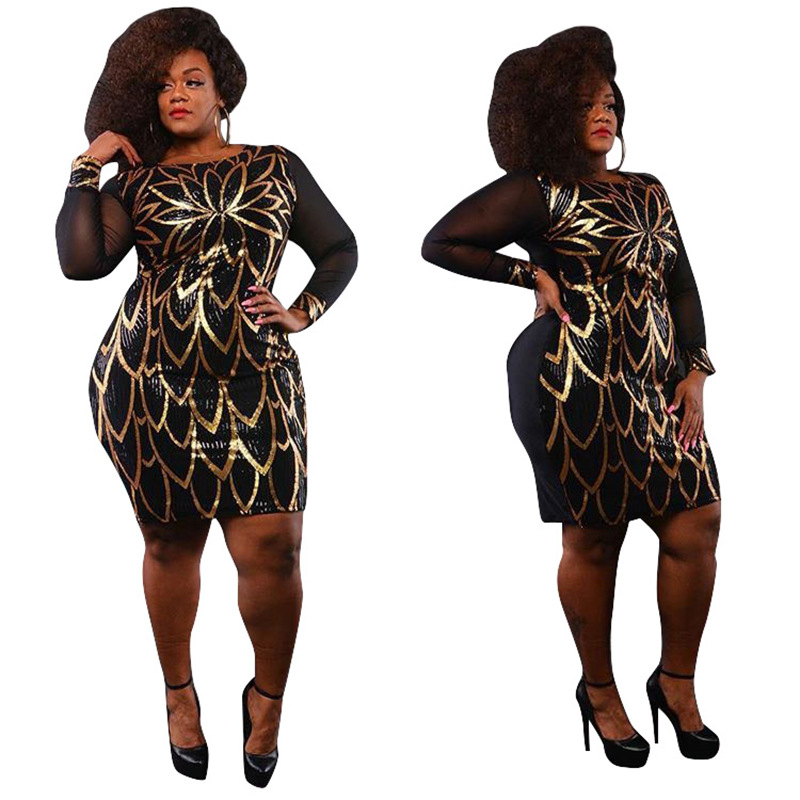 US $17.39 13% OFF|Plus Size Women Gatsby Dress Geometric Sequins Mesh  Patchwork Vintage Flapper Mini Dress Bodycon Club Party Dresses-in Dresses  from ...