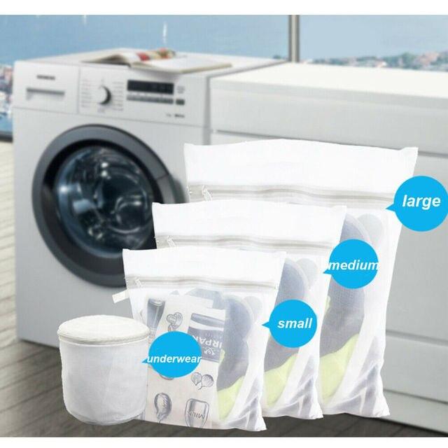 Com zíper Dobrável Saco de Nylon Lavanderia Meias Sutiã Cueca Máquina de Lavar Roupas de Proteção Sacos de Rede de Malha