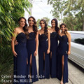 Vintage Navy Blue Sheath Long Bridesmaid Dress Custom Made Sexy Sweetheart Lace Appliques Wedding Party Dresses with High Slit