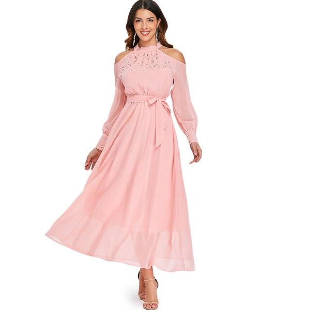 ef741e7b4a Wipalo Autumn Open Shoulder Long Sleeve Women Dress Solid Faux Pearl  Chiffon Dress Cuff Sleeve O-Neck Belt Elegant Dreess New