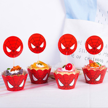 Birthday Party Cake Toppers With Wrappers Baby Shower Red Spiderman Theme Girls Favors Cupcake Decoration Supplies 24pcs/pack