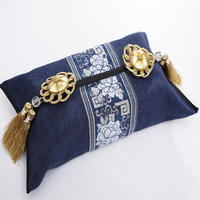 High End Modern Decorative Fabric Tissue Box Cover Chinese style Cotton Linen Facial Napkin Case Removable Kleenex Case Cover