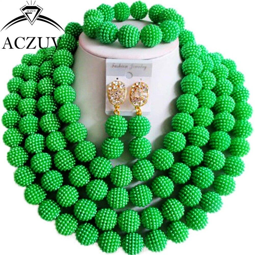 Brand Aczuv Costume Women Necklace Nigerian Wedding African Beads Jewelry  Set Green Imitation Pearl An091(