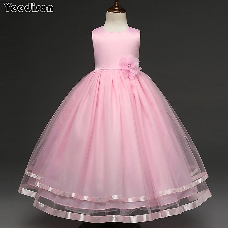 все цены на 2018 Girl Princess Flower Dress For Girls Clothing Gown Long Party Kids Dresses Sleeveless Children Dresses Prom Girls Costume