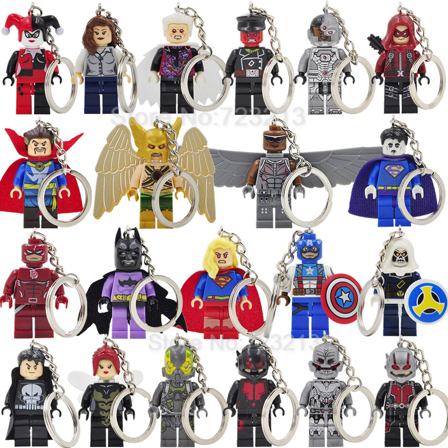 Super Hero Girl Legoingly Keychain Figure Ant-Man Lois Lane Wasp Cyborg Collector Bizarro Hawkman Ultron Building Blocks Toys