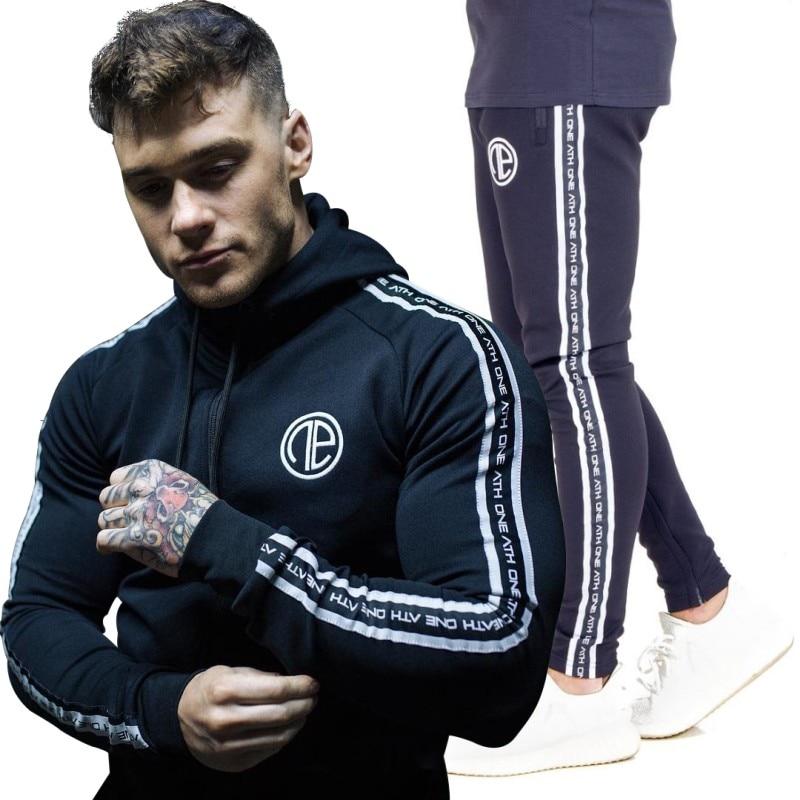 2018 Men's Brand Tracksuits Set Hoodies Jacket+Pants Sporting Suit Plus Size M-3XL Fitness Clothing In Men's Sets