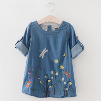 Girls Denim Dress 2017 Children Clothing Spring Casual Style Girls Clothes Butterfly Embroidery Dress Kids Clothes